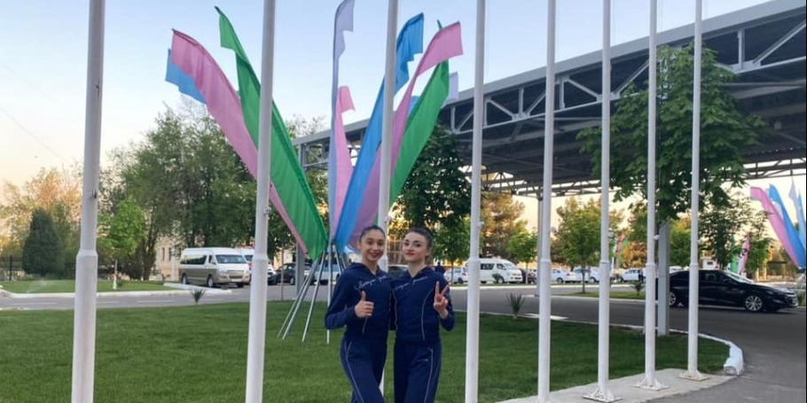 Rhythmic gymnasts participate in the World Cup