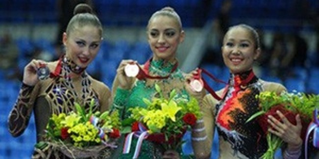 AN AZERBAIJANI GYMNAST ALIYA GARAYEVA BECOMES THE BRONZE MEDALIST OF THE WORLD CHAMPIONSHIPS IN MOSCOW