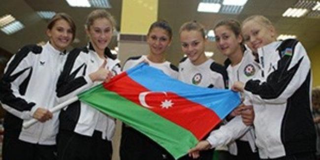 AN AZERBAIJANI GROUP TEAM IN RHYTHMIC GYMNASTICS TAKES THE 7TH PLACE