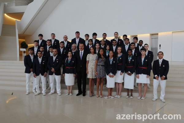 PRESIDENT OF AZERBAIJAN ILHAM ALIYEV AND HIS SPOUSE MEHRIBAN ALIYEVA TAKE PART IN THE SEEING-OFF CEREMONY FOR THE SPORTSMEN TO REPRESENT THE COUNTRY AT THE 2012 LONDON OLYMPIC GAMES