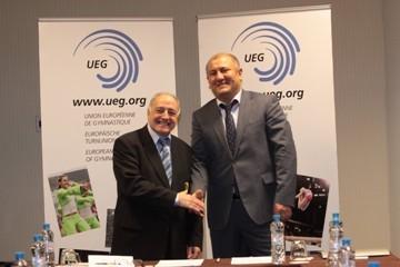 European Union of Gymnastics and Kapital Bank sign a partnership agreement.