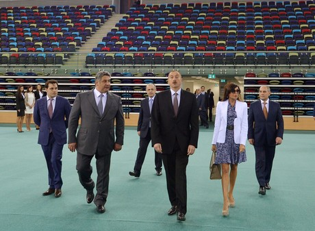 PRESIDENT ILHAM ALIYEV AND HIS SPOUSE MEHRIBAN ALIYEVA TAKE PART IN THE OPENING OF THE NATIONAL GYMNASTIC ARENA