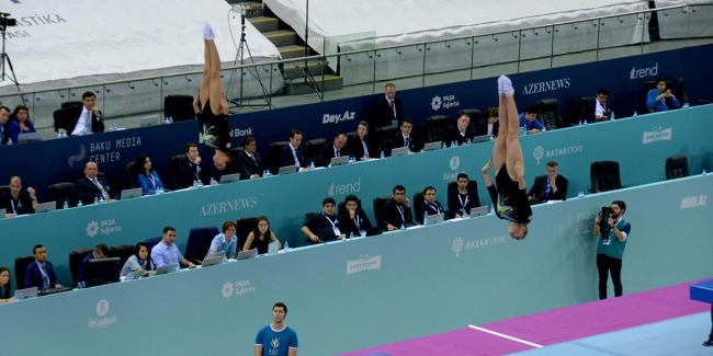 First day of the FIG World Cup in Trampoline Gymnastics