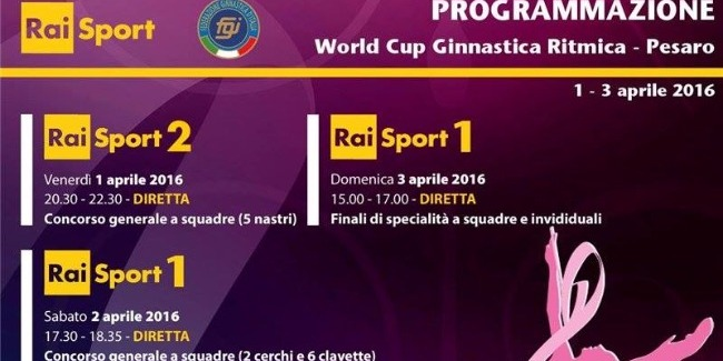 THE WORLD CUP AND INTERNATIONAL TOURNAMENT IN RHYTHMIC GYMNASTICS IN PESARO