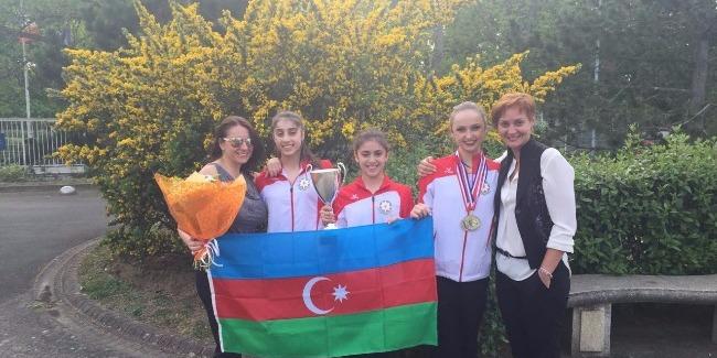 MEDALS OF RHYTHMIC GYMNASTS FROM CORBEIL-ESSONNES AND BRNO