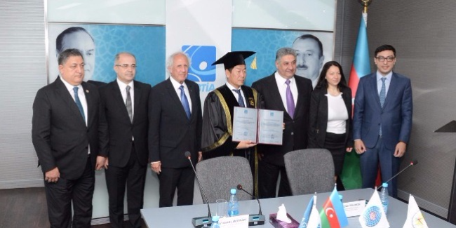 FIG president becomes honorary doctor of Azerbaijan Academy of Physical training and Sport