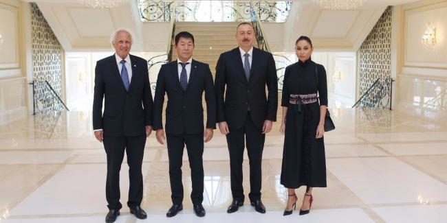 Prezident İlham Əliyev Beynəlxalq Gimnastika Federasiyasının prezidentini və baş katibini qəbul edib
