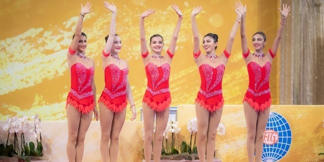 Our team in group exercises is in the ranking of the 5 best gymnasts