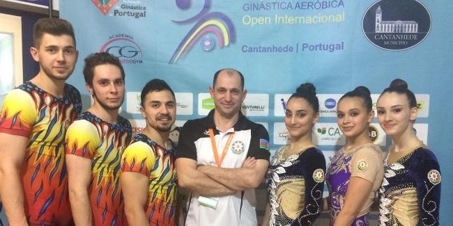 Azerbaijani aerobic gymnasts perform at the World Cup