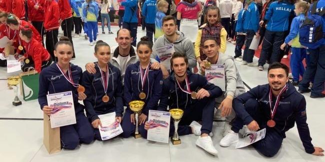 The members of the Azerbaijani Aerobic Gymnastics National Team win 2 medals