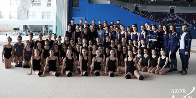 Mrs. Valentina Matviyenko - the Chairman of the Federation Council of the Federal Assembly of the Russian Federation meets with the Azerbaijani Rhythmic Gymnastics National Team