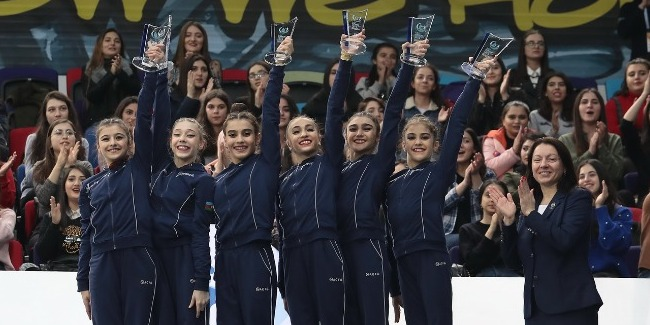 The Azerbaijani group team wins a silver medal in the all-around at AGF Junior tournament