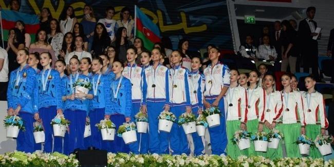 В Баку состоялась церемония награждения победителей Чемпионата Европы в командном зачете и в многоборье групповых упражнений