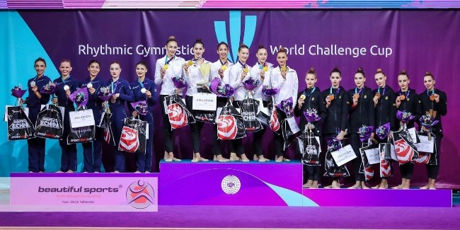"""Azerbaijani Rhythmic gymnasts complete the World """"Challenge"""" Cup with 3 medals"""
