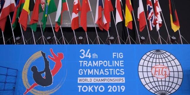 The International Gymnastics Federation`s (FIG) flag is presented to Azerbaijan